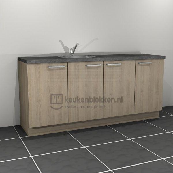 Keukenblok met spoelbak links 2.00 m breed - Eiken zand