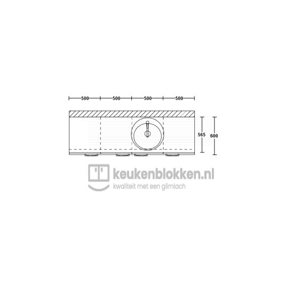 Keukenblok met spoelbak rechts 2.00 m breed - Alpine wit