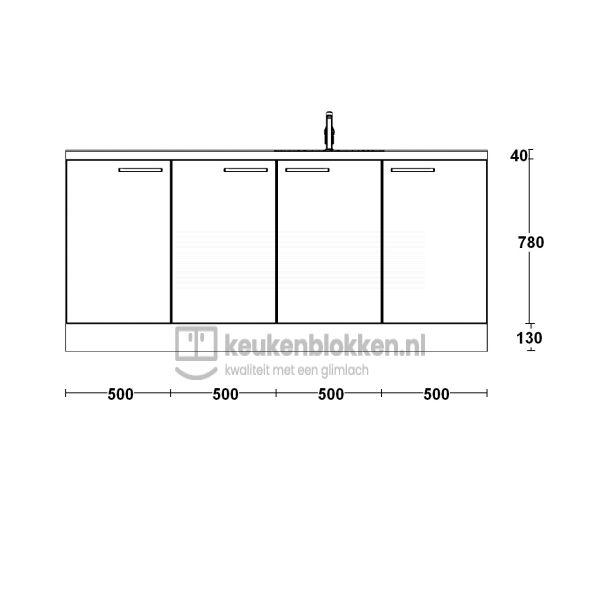 Keukenblok met spoelbak rechts 2.00 m breed - Alpine wit hoogglans