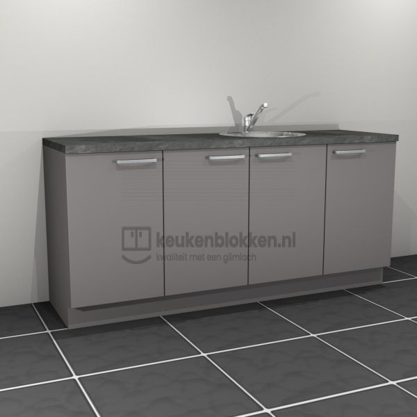 Keukenblok met spoelbak rechts 2.00 m breed - Onyx grijs