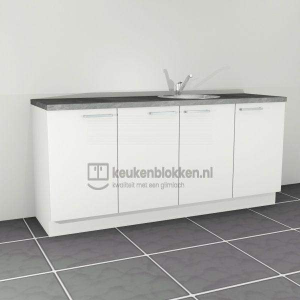 Keukenblok met spoelbak rechts 2.20 m breed - Alpine wit