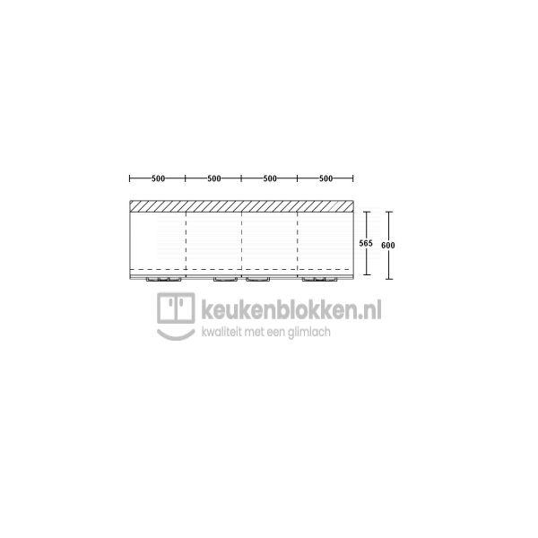 Keukenblok zonder spoelbak met lades 2.00 m breed - Onyx grijs