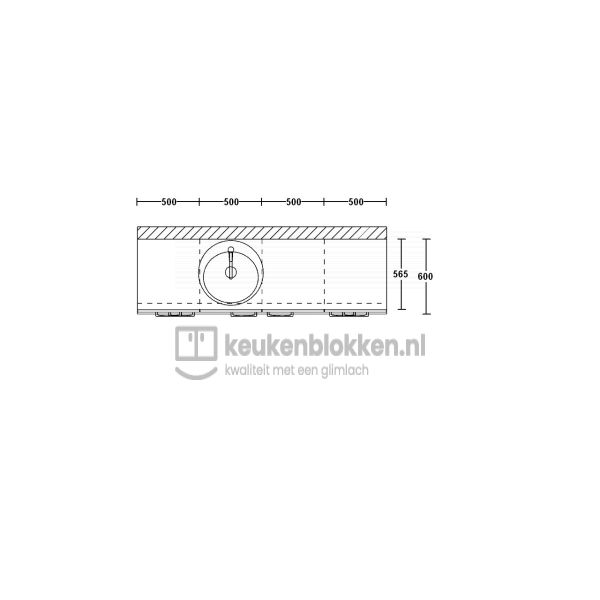 Keukenblok met spoelbak links met lades 2.00 m breed - Eiken zand