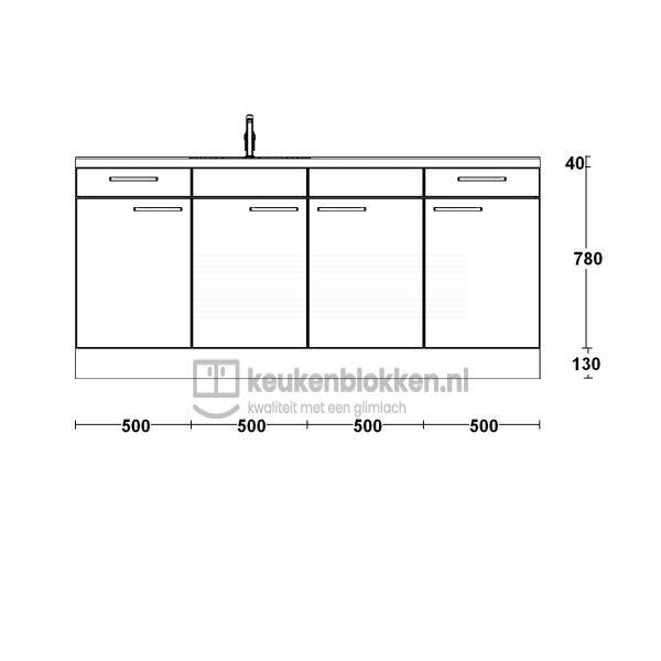 Keukenblok met spoelbak links met lades 2.00 m breed - Magnolia