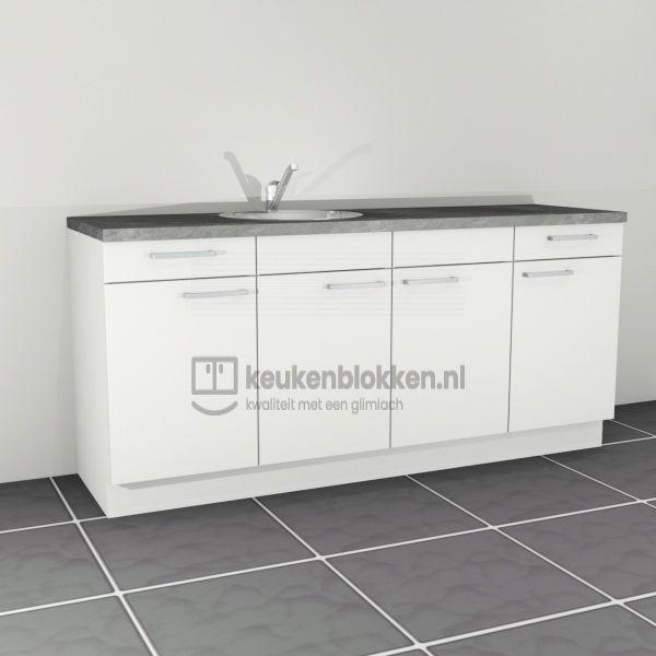 Keukenblok met spoelbak links met lades 2.00 m breed - Alpine wit