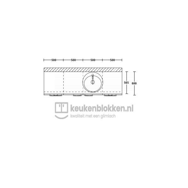 Keukenblok met spoelbak rechts met lades 2.00 m breed - Magnolia