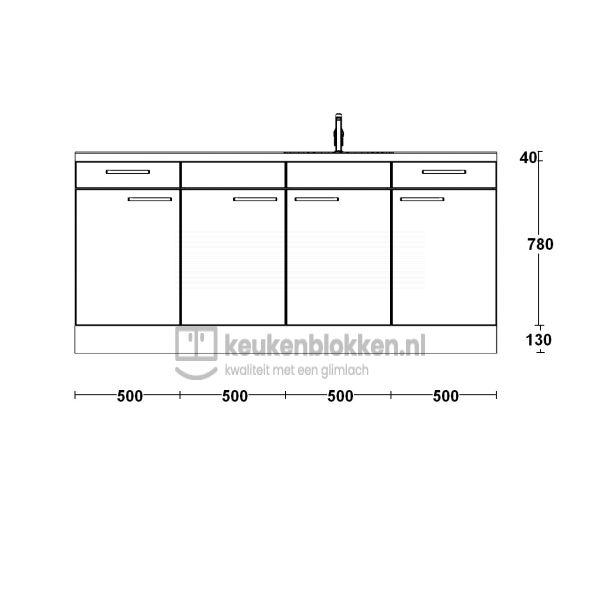 Keukenblok met spoelbak rechts met lades 2.00 m breed - Onyx grijs