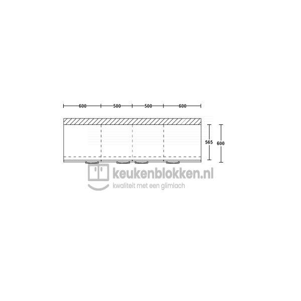 Keukenblok zonder spoelbak 2.20 m breed - Onyx grijs