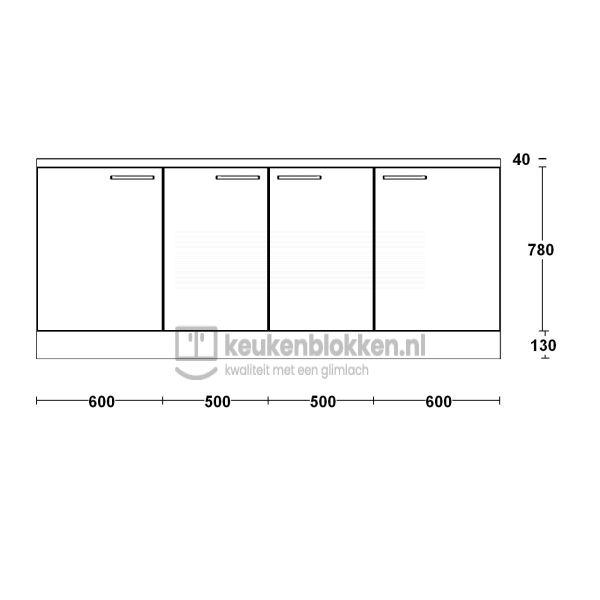 Keukenblok zonder spoelbak 2.20 m breed - Carbon zwart