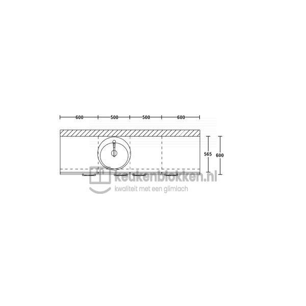 Keukenblok met spoelbak links 2.20 m breed - Eiken zand