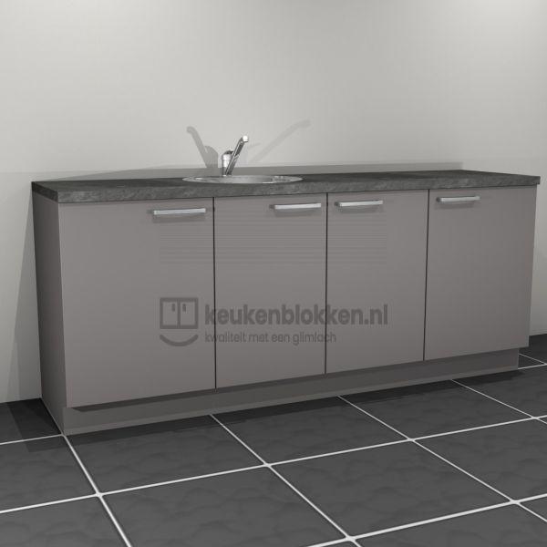 Keukenblok met spoelbak links 2.20 m breed - Onyx grijs