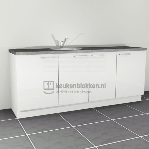 Keukenblok met spoelbak links 2.20 m breed - Alpine wit hoogglans