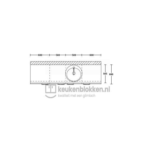 Keukenblok met spoelbak rechts 2.20 m breed - Eiken zand