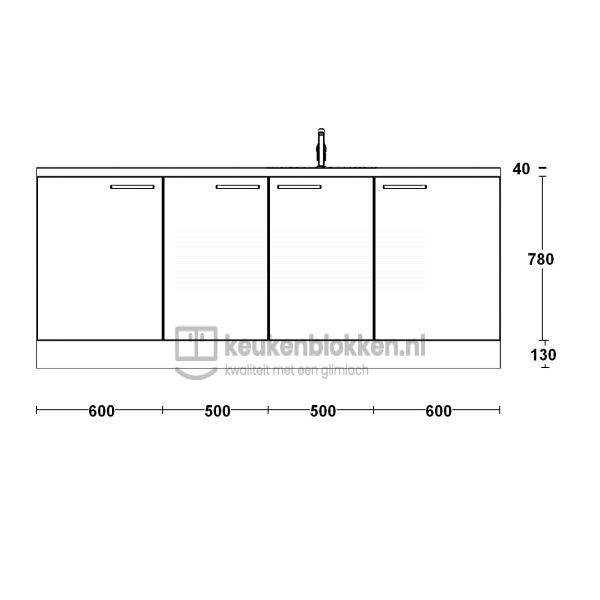 Keukenblok met spoelbak rechts 2.20 m breed - Carbon zwart