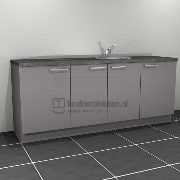 Keukenblok met spoelbak rechts 2.20 m breed - Onyx grijs