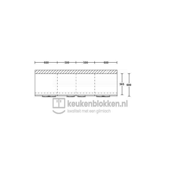 Keukenblok zonder spoelbak met lades 2.20 m breed - Carbon zwart