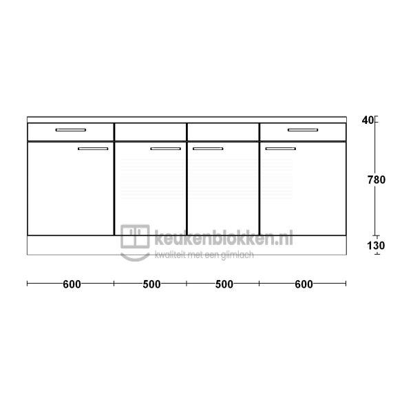 Keukenblok zonder spoelbak met lades 2.20 m breed - Onyx grijs