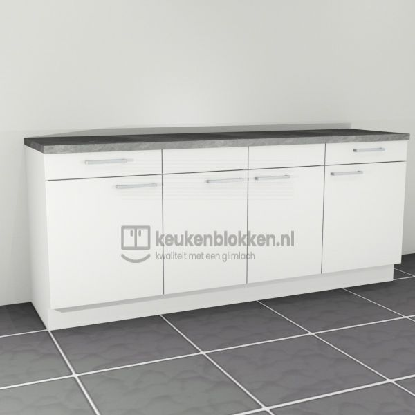 Keukenblok zonder spoelbak met lades 2.20 m breed - Alpine wit