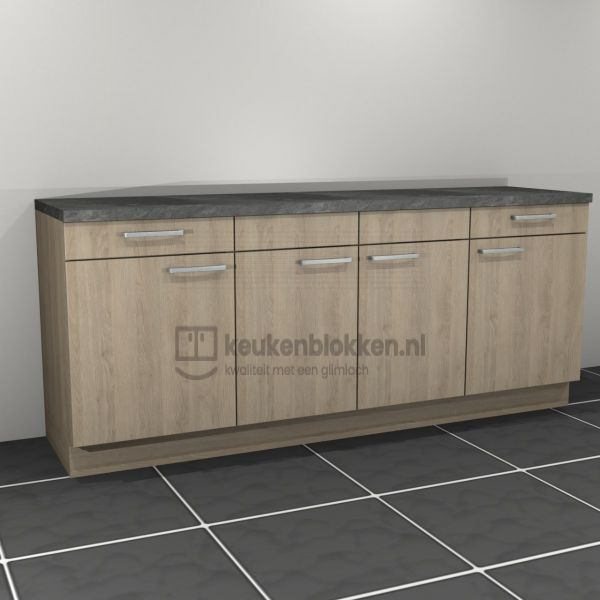 Keukenblok zonder spoelbak met lades 2.20 m breed - Eiken zand