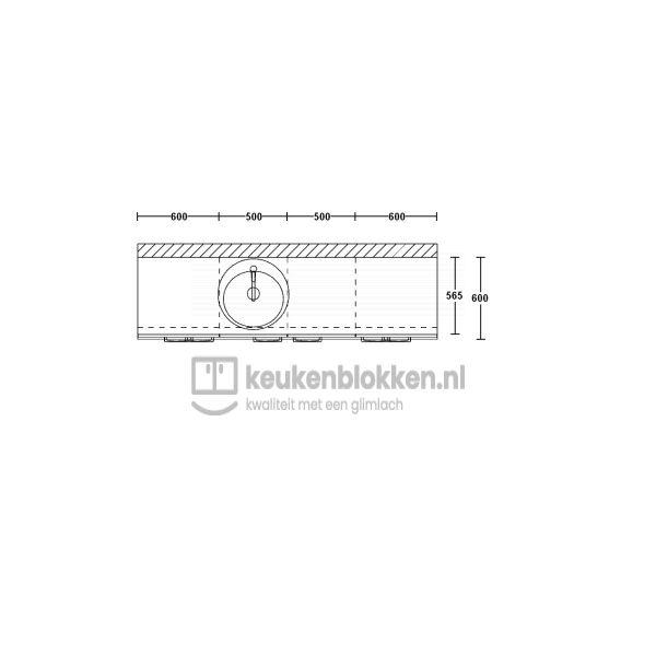 Keukenblok met spoelbak links met lades 2.20 m breed - Magnolia