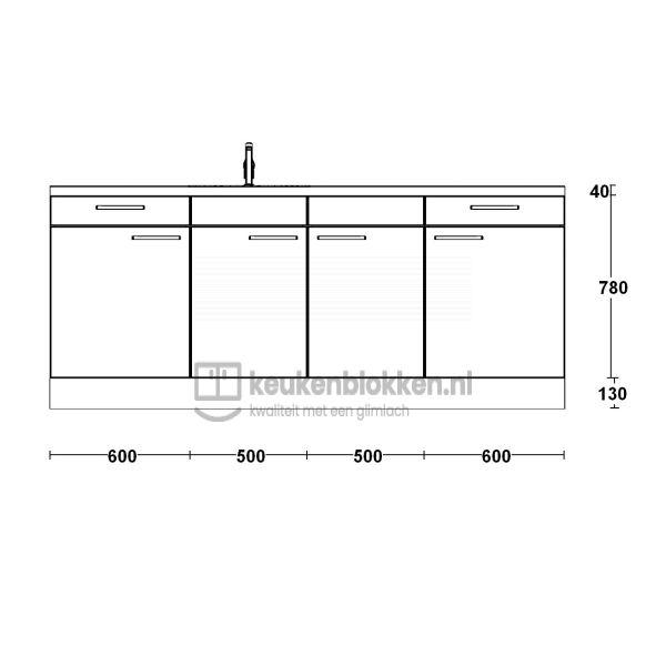 Keukenblok met spoelbak links met lades 2.20 m breed - Onyx grijs