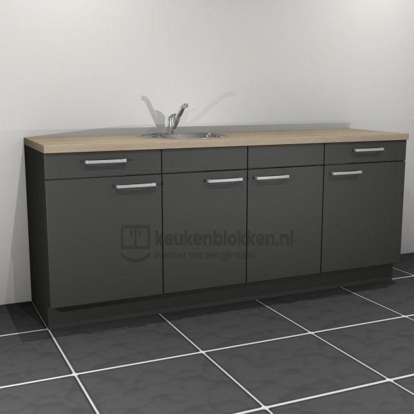 Keukenblok met spoelbak links met lades 2.20 m breed - Carbon zwart