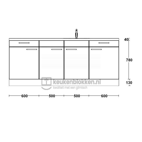 Keukenblok met spoelbak rechts met lades 2.20 m breed - Alpine wit hoogglans