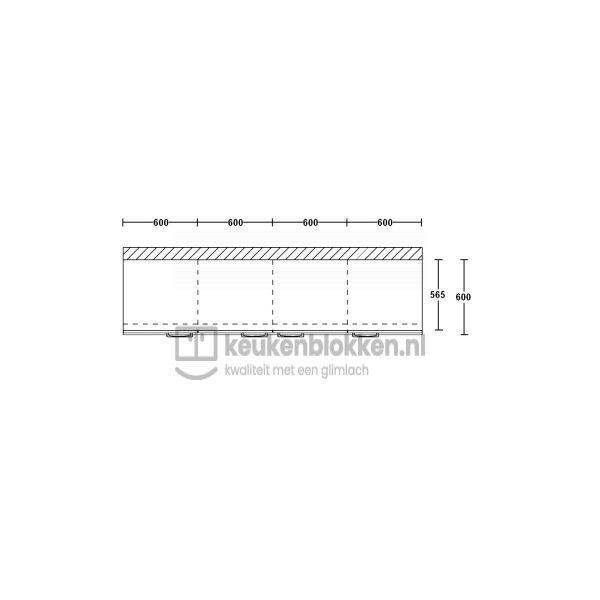 Keukenblok zonder spoelbak 2.40 m breed - Onyx grijs