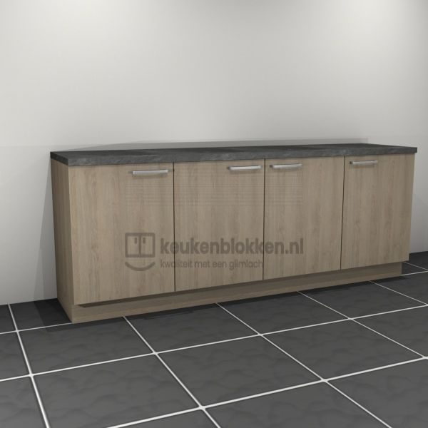 Keukenblok zonder spoelbak 2.40 m breed - Eiken zand