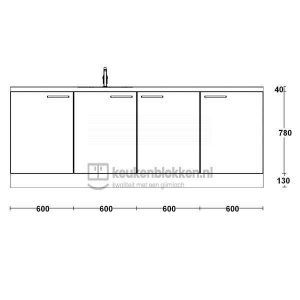Keukenblok met spoelbak links 2.40 m breed - Alpine wit hoogglans
