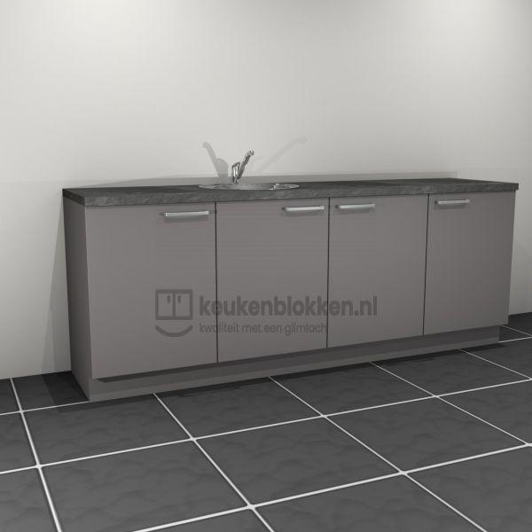 Keukenblok met spoelbak links 2.40 m breed - Onyx grijs