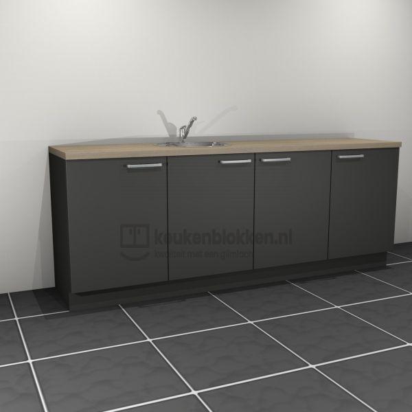 Keukenblok met spoelbak links 2.40 m breed - Carbon zwart