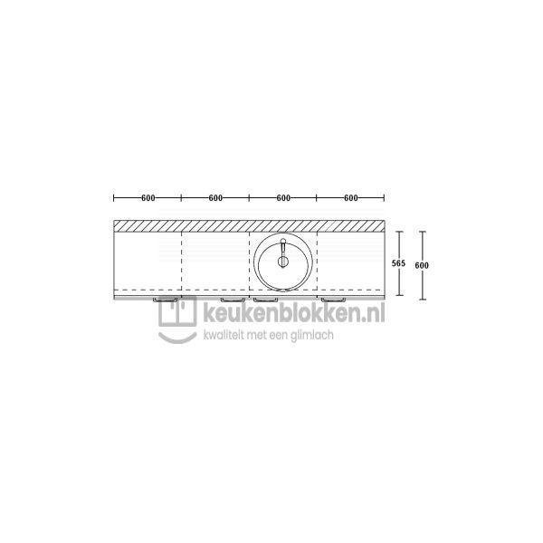 Keukenblok met spoelbak rechts 2.40 m breed - Onyx grijs