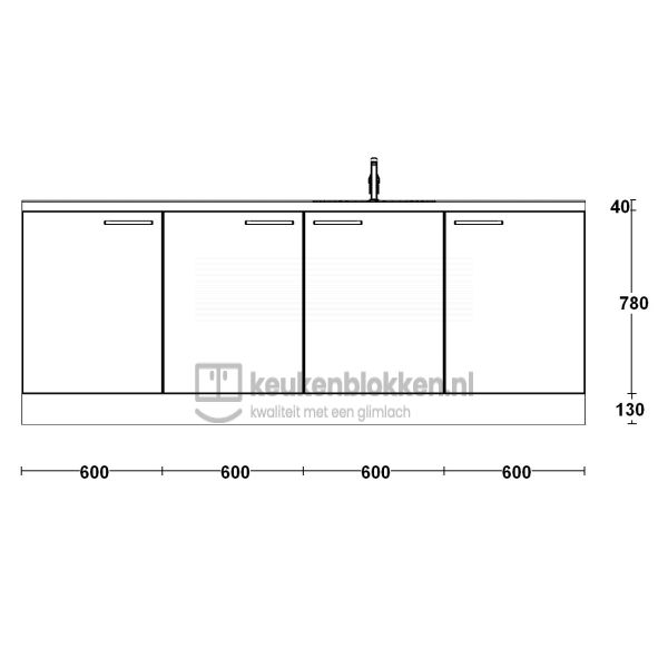 Keukenblok met spoelbak rechts 2.40 m breed - Carbon zwart