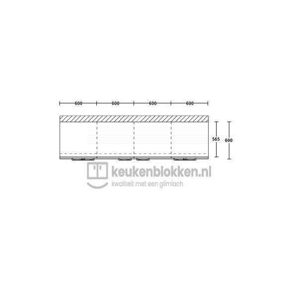 Keukenblok zonder spoelbak met lades 2.40 m breed - Eiken zand