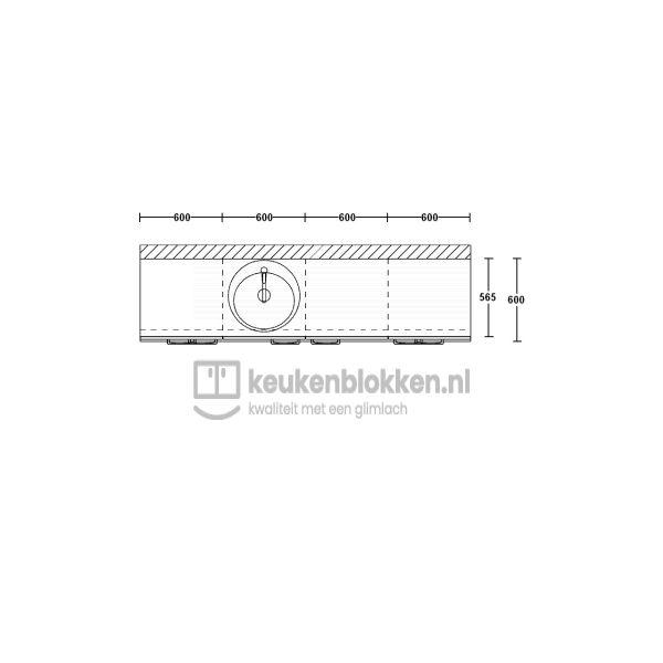 Keukenblok met spoelbak links met lades 2.40 m breed - Onyx grijs