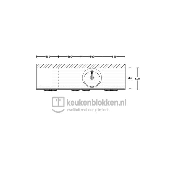 Keukenblok met spoelbak rechts met lades 2.40 m breed - Alpine wit
