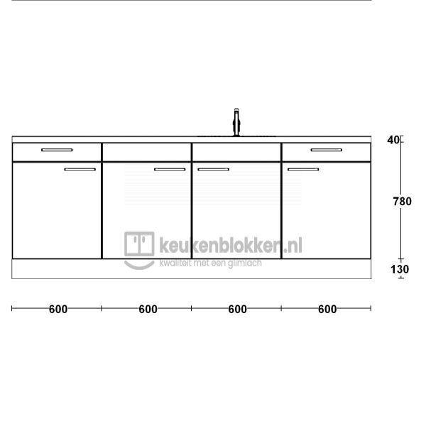 Keukenblok met spoelbak rechts met lades 2.40 m breed - Alpine wit hoogglans
