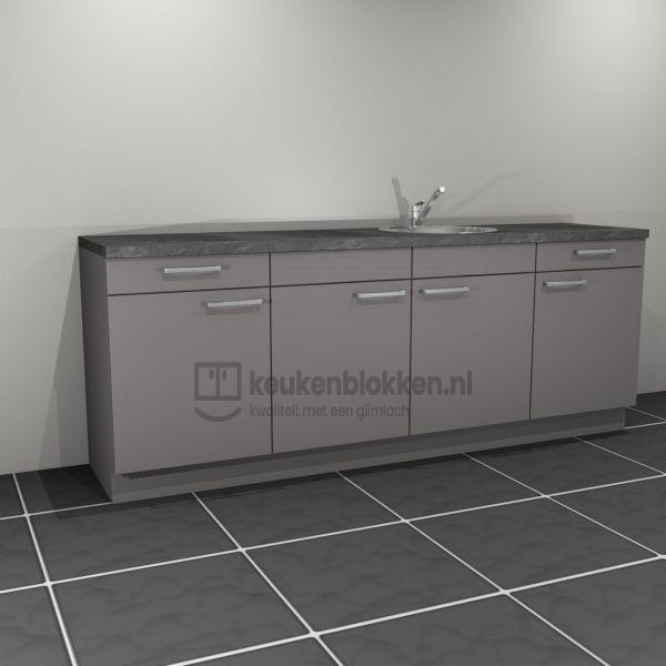 Keukenblok met spoelbak rechts met lades 2.40 m breed - Onyx grijs
