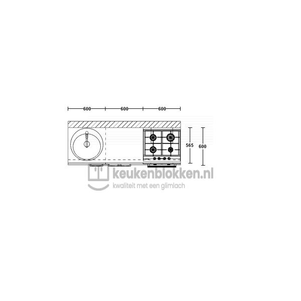 Keukenblok met apparatuur, gaskookplaat, spoelbak links 1.80 m breed - Magnolia