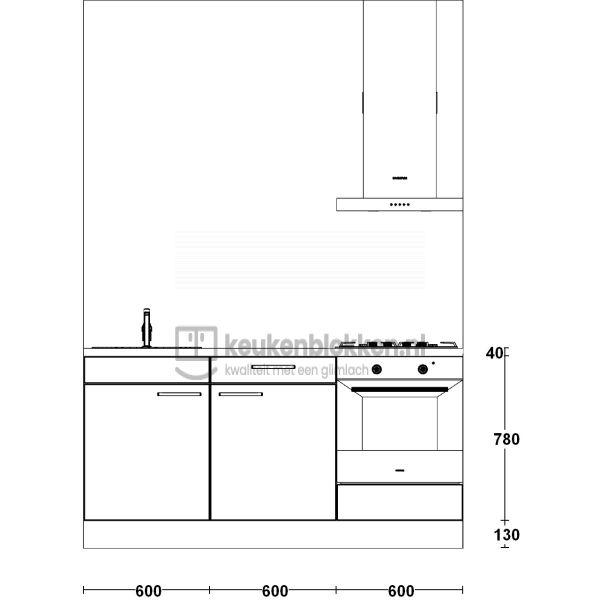 Keukenblok met apparatuur, gaskookplaat, spoelbak links 1.80 m breed - Alpine wit
