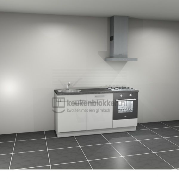 Keukenblok met apparatuur, gaskookplaat, spoelbak links 1.80 m breed - Alpine wit (op voorraad)
