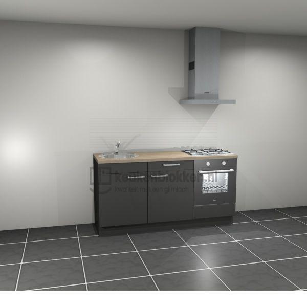 Keukenblok met apparatuur, gaskookplaat, spoelbak links 1.80 m breed - Carbon zwart