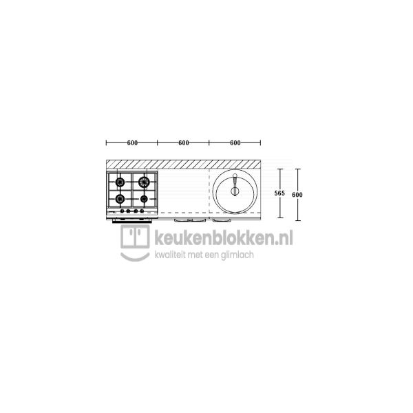 Keukenblok met apparatuur, gaskookplaat, spoelbak rechts 1.80 m breed - Onyx grijs