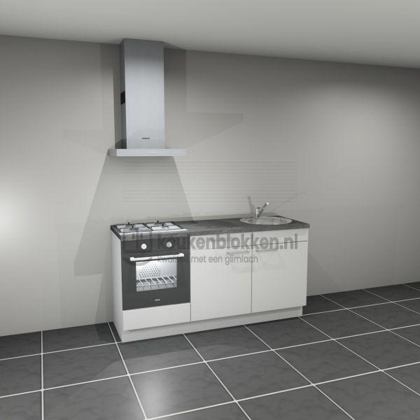Keukenblok met apparatuur, gaskookplaat, spoelbak rechts 1.80 m breed - Alpine wit (op voorraad)