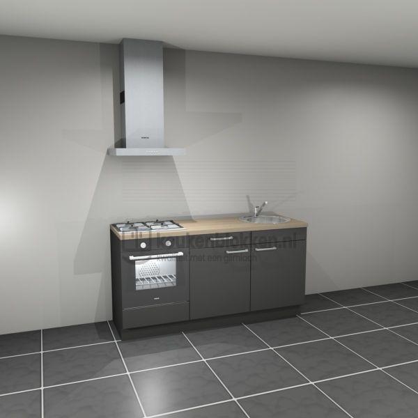 Keukenblok met apparatuur, gaskookplaat, spoelbak rechts 1.80 m breed - Carbon zwart