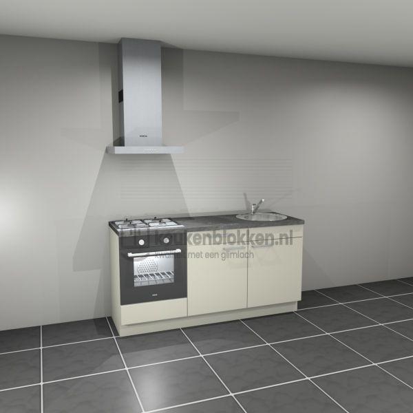 Keukenblok met apparatuur, gaskookplaat, spoelbak rechts 1.80 m breed - Magnolia
