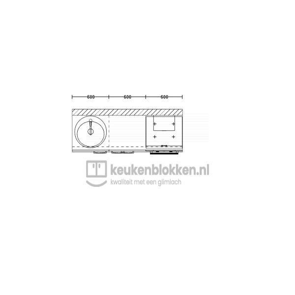 Keukenblok met apparatuur, inductiekookplaat, spoelbak links 1.80 m breed - Carbon zwart