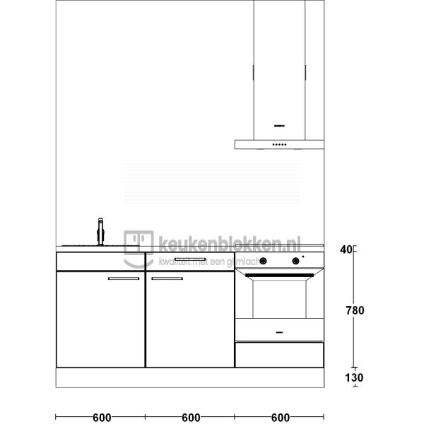 Keukenblok met apparatuur, inductiekookplaat, spoelbak links 1.80 m breed - Magnolia