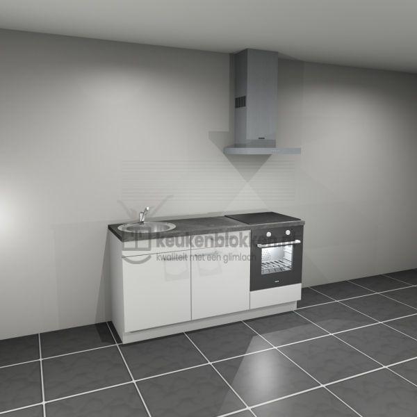 Keukenblok met apparatuur, inductiekookplaat, spoelbak links 1.80 m breed - Alpine wit
